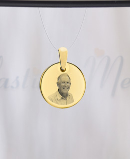 Round Photo Engraved Gold Plated over Stainless Guardian