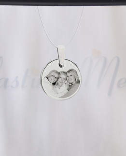 Round Photo Engraved Stainless Guardian