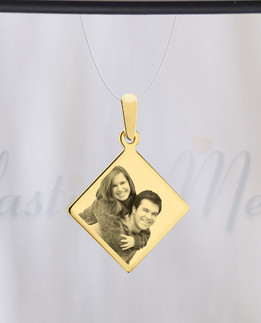 Diamond Photo Engraved Gold Plated over Stainless Guardian
