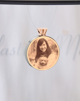 Round Rose Gold Plated Picture Engraved Pet Ash Guardian