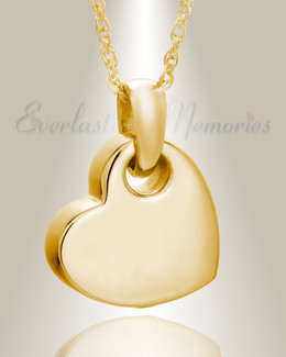 14K Gold Charming Heart Cremation Keepsake Pendant