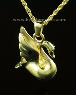 14K Gold Swan Memorial Locket