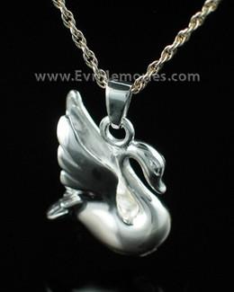 Sterling Silver Swan Jewelry Urn