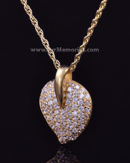 14K Gold Plated Blaze Heart Cremation Keepsake
