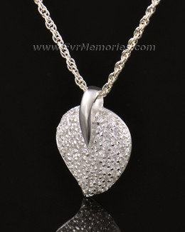 14K White Gold Blaze Heart Urn Keepsake
