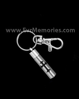 Stainless Steel Cremation Chamber with Cross Keychain Memorial Locket