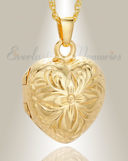 14K Gold Daisy Heart Memorial Jewelry Urn