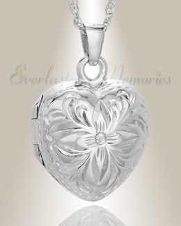 Sterling Silver Daisy Heart Jewelry Urn