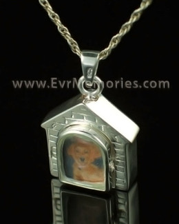14K White Gold Doghouse Memorial Locket