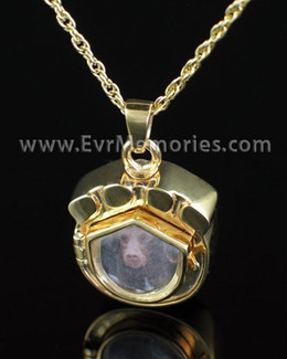 Gold Vermeil Photo Paw Urn Necklace