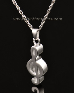 14K White Gold Music Note Memorial Locket