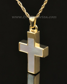 14K Gold Pearly Cross Funeral Jewelry