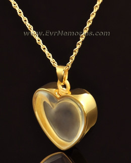 14k Gold Trimmed Heart Cremation Urn Keepsake