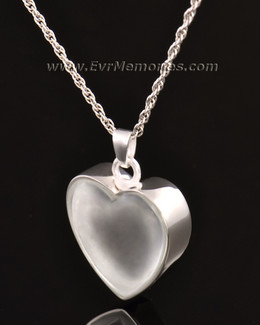 14k White Gold Trimmed Heart Jewelry Urn