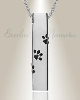 14K White Gold Paw Cylinder Jewelry Urn