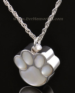 14K White Gold Pearly Paw Funeral Jewelry