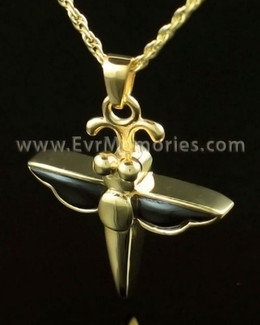 14K Gold Night Dragon Fly Cremation Keepsake