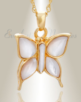 Gold Vermeil Dewy Butterfly Memorial Locket