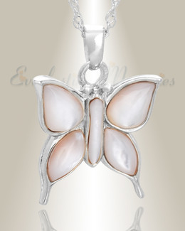 14K White Gold Dewy Butterfly Memorial Locket