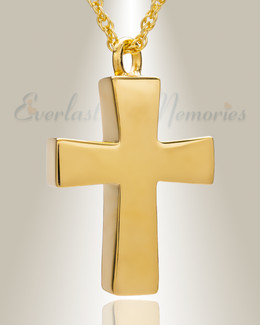 14K Gold Parchment Cross Cremation Keepsake