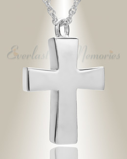 14K White Gold Parchment Cross Memorial Pendant