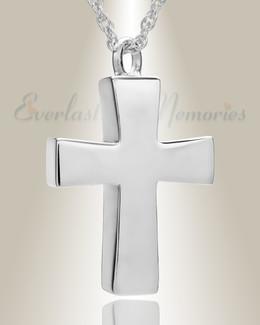 14K White Gold Parchment Cross Memorial Pendant