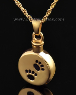 Gold Vermeil Paws on Disc Urn Keepsake
