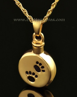 14K Gold Paws on Disc Urn Necklace