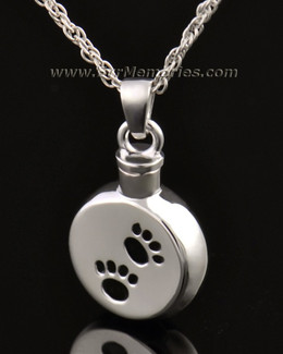 14K White Gold Paws on Disc Memorial Necklace