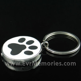 Stainless Steel Muddy Paw Keychain Cremation Urn Keepsake