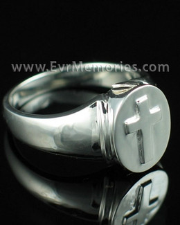 Sterling Silver Mens Divinity Cremation Ring Memorial Urn