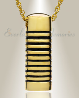 Gold Plated Grooved Cylinder Cremation Keepsake