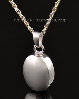 14k White Gold Silver Oblique Memorial Locket