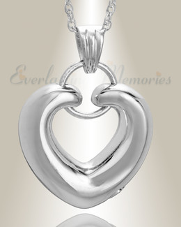 14K White Gold Loyalty Heart Cremation Charm