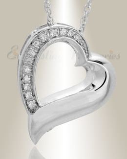 14K White Gold Passion Heart Cremation Keepsake