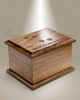 Small Walnut Cremation Urn w/ Pawprints