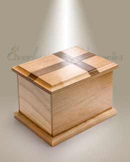 Medium Alder Cremation Urn w/ Walnut Cross