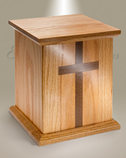 Square Oak Cremation Urn w/ Walnut Cross
