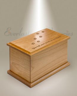 Medium Alder Cremation Urn w/ Pawprints