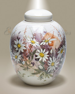Daisies Ceramic Cremation Urn