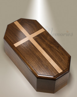 Walnut 8 Sided Cremation Urn w/ Maple Cross