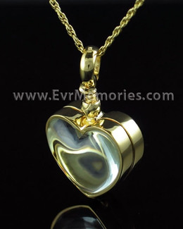 Gold Plated Glass Memorial Heart Cremation Jewelry Pendant