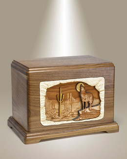 Walnut Hampton w/ Wolves Cremation Urn