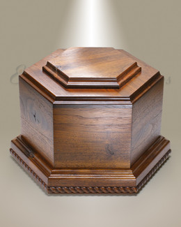 Walnut Hexagon Cremation Urn