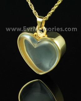Gold Plated Clear Heart Keepsake Pendant