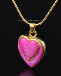 Gold Plated Crimson Heart Remembrance Pendant