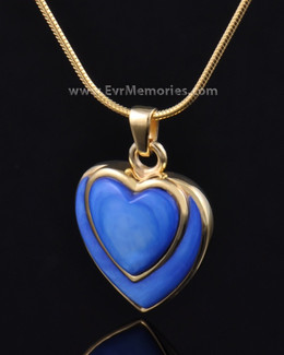 Gold Plated Indigo Heart Memorial Jewelry