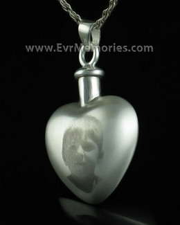 Sterling Silver Affection Heart Memorial Pendant