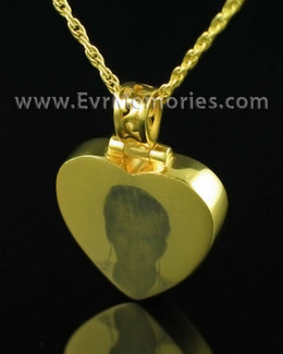 Gold Plated Thoughtful Heart Cremation Keepsake