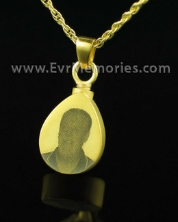 Gold Plated Reflection Teardrop Cremation Locket